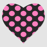 Hot Pink Polka Dots Heart Stickers