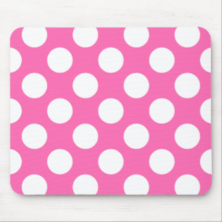 Hot Pink Polka Dots Mouse Pad