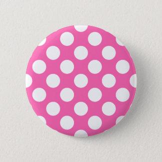 Hot Pink Polka Dots Pinback Button