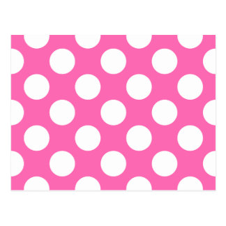 Hot Pink Polka Dots Postcard