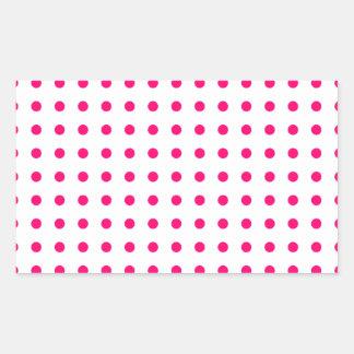 Hot Pink Polka Dots Rectangular Sticker