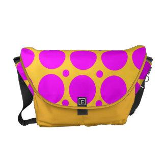 Hot Pink Polka Dots Rickshaw Messenger Bag
