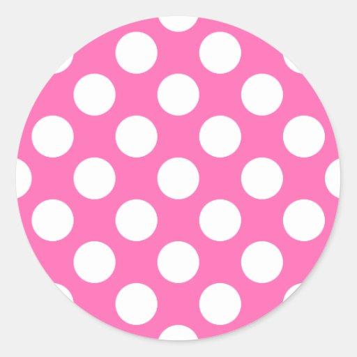 Hot Pink Polka Dots Round Sticker