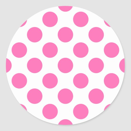 Hot Pink Polka Dots Round Stickers