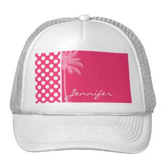 Hot Pink Polka Dots; Summer Palm Trucker Hat