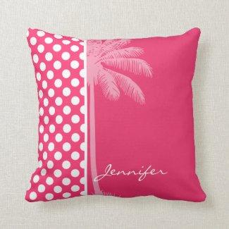 Hot Pink Polka Dots; Summer Palm Pillow