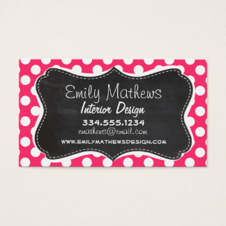 Hot Pink Polka Dots; Vintage Chalkboard Business Card