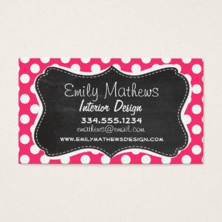 Hot Pink Polka Dots; Vintage Chalkboard Business Card