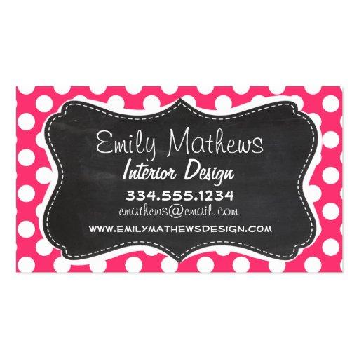 Hot Pink Polka Dots; Vintage Chalkboard Business Cards