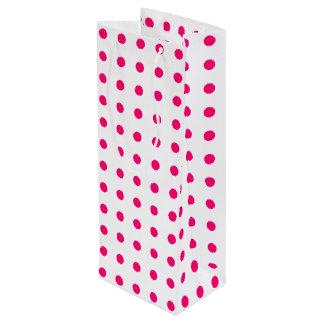 Hot Pink Polka Dots Wine Gift Bag