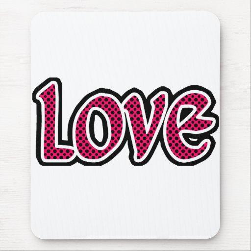Hot Pink Polkadot Love Mouse Pad