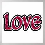Hot Pink Polkadot Love Posters