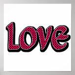 Hot Pink Polkadot Love Print