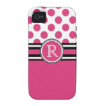 Hot Pink  Polkadots and  Monogram Initial Vibe iPhone 4 Cover