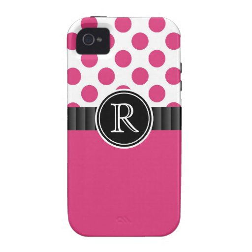 Hot Pink  Polkadots and  Monogram Initial Vibe iPhone 4 Cases