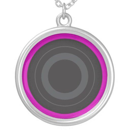 Hot Pink Pop Art Roller Derby Wheel Round Pendant Necklace
