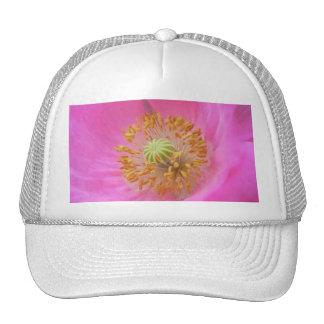 Hot Pink Poppy Flower Mesh Hat