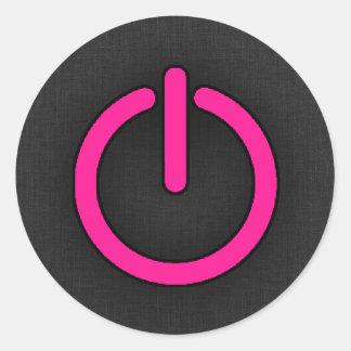 Hot Pink Power Button Classic Round Sticker