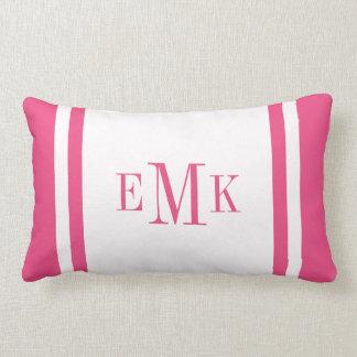 Hot Pink Preppy Ribbon Dots Custom Monogram Throw Pillow
