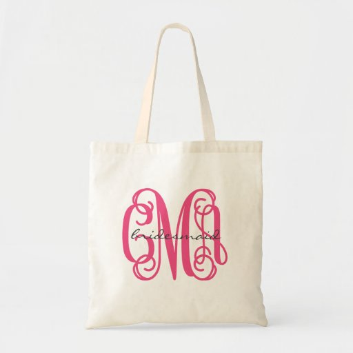 Hot Pink Preppy Script Monogram - CMA Canvas Bag