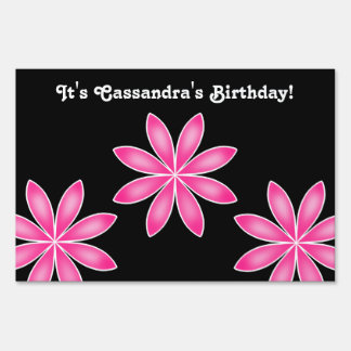 Hot pink pretty geometric flowers birthday sign