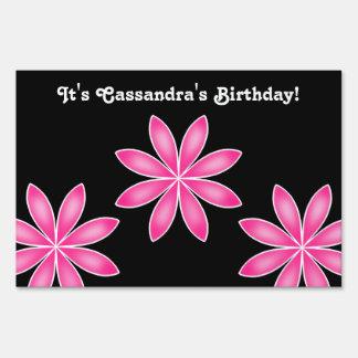 Hot pink pretty geometric flowers birthday lawn signs