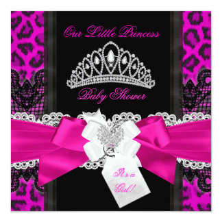 Hot Pink Princess Baby Shower Girl Black Leopard 2 5.25x5.25 Square Paper Invitation Card