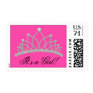 Hot Pink Princess Baby Shower Postage