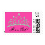 Hot Pink Princess Baby Shower Stamps