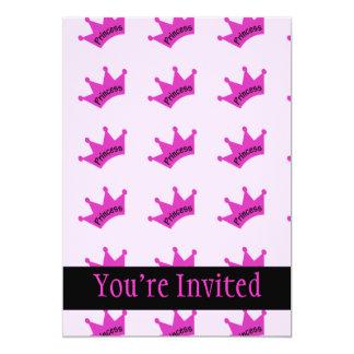 Hot Pink Princess Crown 5x7 Paper Invitation Card
