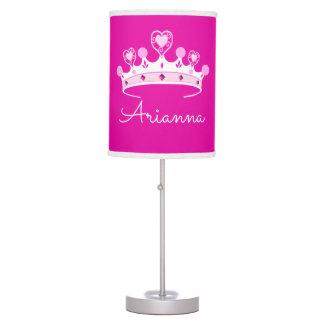 Hot Pink Princess Crown Custom Personalized Desk Lamp
