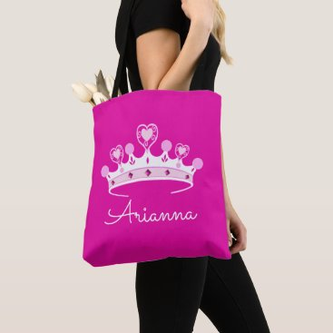 Valentines Themed Hot Pink Princess Crown Custom Personalized Tote Bag