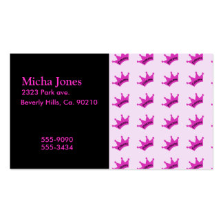 Hot Pink Princess Crown Double-Sided Standard Business Cards (Pack Of 100)