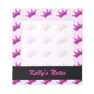 Hot Pink Princess Crown Memo Notepads