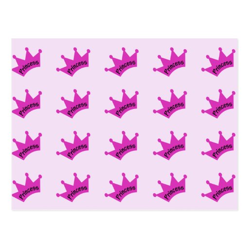 Hot Pink Princess Crown Post Card