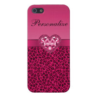 Hot Pink Printed Bling Heart & Leopard Pattern Case For iPhone SE/5/5s
