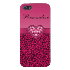 Hot Pink Printed Bling Heart & Leopard Pattern Case For Iphone Se/5/5s at Zazzle