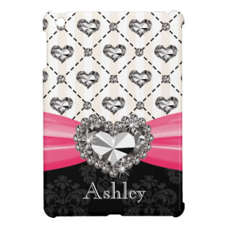 Hot Pink Printed Diamond Look Heart Case For The iPad Mini
