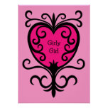 Hot pink punk girly girl ornate heart poster