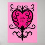 Hot pink punk girly girl ornate heart print
