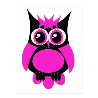 Hot Pink Punk Owl Postcard
