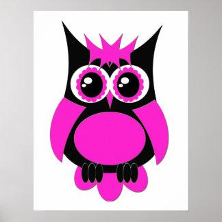 Hot Pink Punk Owl Poster