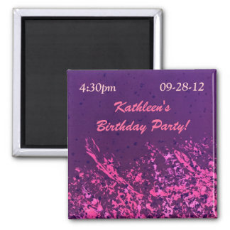 Hot Pink & Purple 2 Inch Square Magnet