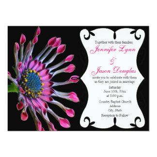 Hot Pink Purple African Daisy Wedding Invitations