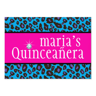 Hot Pink Purple and Teal Blue Leopard Quinceanera Card