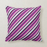 [ Thumbnail: Hot Pink, Purple, Black, and Light Cyan Pattern Throw Pillow ]