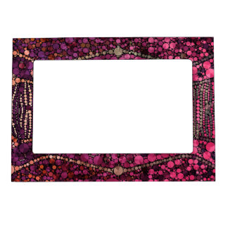 Hot Pink Purple Bling Abstract Magnetic Photo Frame