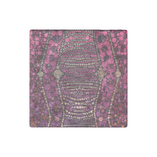 Hot Pink Purple Bling Abstract Stone Magnet