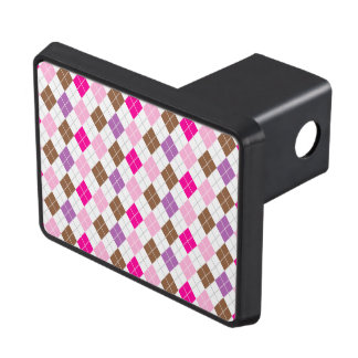 Hot Pink, Purple, Brown, White Argyle Tow Hitch Cover