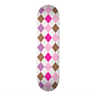 Hot Pink, Purple, Brown, White Argyle Skateboard Deck